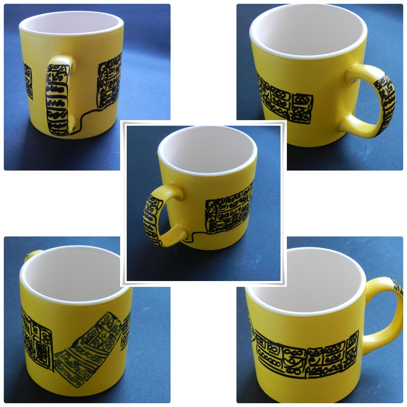 Seramik Boyama Bardak Sarı Renkli Desenli Seramik Boyama ürünler